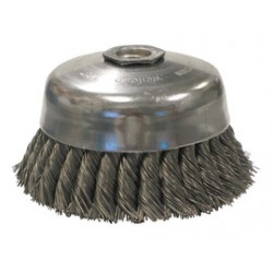 Weiler - 12826 - Weiler 4 X 5/8 - 11 Carbon Steel Single Row Knot Wire Cup Brush With Internal Nut For Use On Right Angle Grinders, ( Each )