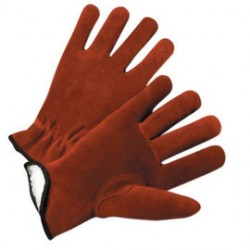 West Chester - 988KT/M-PR - West Chester Medium Russet Split Cowhide Thinsulate Lined Gunn Cut Drivers Cold Weather Gloves With Keystone Thumb And Shirred Elastic Wrist, ( Pair )