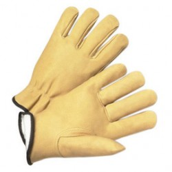 West Chester - 9940KT/XXL-DZ - West Chester 2X Tan Premium Grain Pigskin Thinsulate Lined Gunn Cut Drivers Cold Weather Gloves With Keystone Thumb And Shirred Elastic Wrist, ( Dozen of 12 )