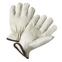 West Chester - 9940KWT/M-PR - West Chester Medium White Grain Pigskin Thermal Lined Gunn Cut Drivers Cold Weather Gloves With Keystone Thumb And Shirred Elastic Wrist, ( Pair )