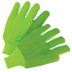 West Chester - K81SCNCGRIPD - West Chester Large Hi-Viz Green 18 Ounce Cotton/Polyester Canvas Fully Corded Gloves With Knit Wrist, Straight Thumb, Standard Lining, PVC Dotted Double Palm And Clute Cut