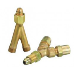 Western Enterprises - 101-BX - Western CGA-022 B 9/16 - 18 Female RH Inlet X B 9/16 - 18 Male RH Outlet Brass 200 psig Hose Y Connector, ( Box of 10 )