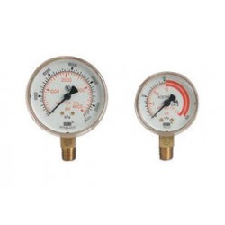 "Western Enterprises - G-15-F60W - Western 1 1/2"" Brass Dual Scale Pressure Gauge With 1/8"" NPT Lower Port"