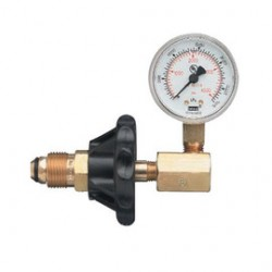 Western Enterprises - G-354H - Western CGA-350 2' 3000 psig Brass Pressure Test Gauge With Hand Tight Nut, ( Each )