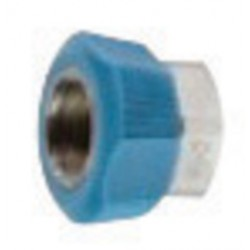 Western Enterprises - M04-2P - Western 7/8' DISS1040A 3/4' - 16 UNF Chrome Plated Brass 200 psi Hand-Tight Hex Nut With Blue Plastic Collar, ( Each )