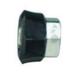 "Western Enterprises - M12-2P - Western DISS 1120 - A 3/4"" - 16 UNF Chrome Plated Brass 200 psi Hand Tight Nut With Black Plastic Collar"