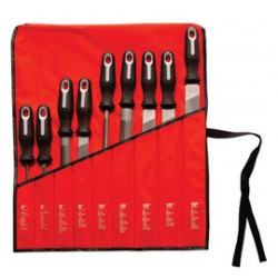 Apex Tool - 183-22030HNN - Cooper Hand Tools American Pattern 9-Piece File Set With Ergonomic Handle (Includes XxSlim Taper File, Slim Taper File, (2) Half-Round, Flat And Round Bastard File, (2) Mill Bastard File And Flat Bastard File), ( Each )