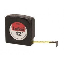 """Apex Tool - 182-Y8212 - Cooper Hand Tools Lufkin Mezurall 1/2"""" X 12' Black Case Yellow Clad Steel Blade Single Side Economy Measuring Tape With Belt Clip, ( Each )"""
