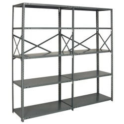 Quantum Storage Systems - AD20G-87-2442-6 - AD20G-87-2442-6 IRONMAN Open Steel Shelving Add-on Unit
