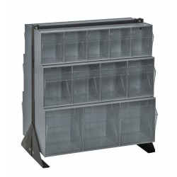 Quantum Storage Systems - QFS224-24 - Quantum Storage Double Side Clear Tip Out Bin Floor Stands - 28 x 23.6 x 8 - Steel