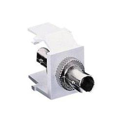 Leviton - 41084SWF - Leviton QuickPort ST Thread-Lock Fiber Optic Adapter - 1 x ST Network - 1 x ST Network - White