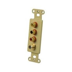 OEM Systems - IW3R1FG - OEM Systems Pro-Wire IW-3R1FG Faceplate Insert - White - 3 x RCA Port(s)