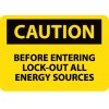 "National Marker - C177P - NMC 7"" X 10"" Black And Yellow 0.0045"" Pressure Sensitive Vinyl Rectangle OSHA Sign ""CAUTION LOCKOUT FOR SAFETY BEFORE YOU START"", ( Each )"