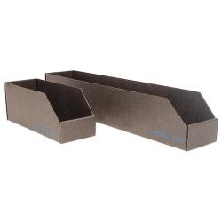 Protektive Pak / Desco - 37102 - Corrugated Shelf Bin, 200 lb. Test Rating, Black, 4-1/2H x 12L x 2W, 1EA