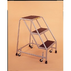 Ballymore / Garlin - 318R - Garlin Spring Loaded Casters Rolling Ladder 3 Step Knock Down No Rails Abrasive Steel Gray, Ea