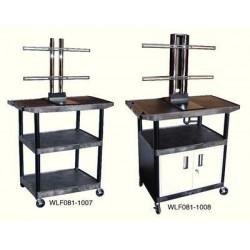 Luxor / H Wilson - LEB54CWTUD - Luxor Plasma/LCD Carts Plasma/LCD Carts, 42W x 24D x 54H, w/Cabinet, 3 Shelves, 129 lbs. (Each)