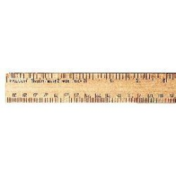 Aakron Rule - 100211 - Wooden Ruler/Protractor Ruler & Protractor, Wooden, Metric & English Scales, 30 cm; 12 (Each)