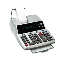 Canon - MP25DV-S - Canon MP25DVS Desktop Printing Calculator - Dual Color Print - 4.3 lps - Clock, Calendar - 12 Digits - Fluorescent - AC Supply Powered - 3.7 x 8.8 x 12.7 - Silver - 1 Each