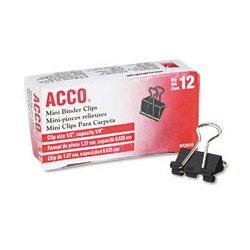 Acco Brands - ACC72020 - Binder Clip, Blk/Slvr, Plastic/Steel, PK12