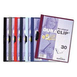 Durable - 220331 - Durable Duraclip Report Covers - Letter - 8 1/2 x 11 Sheet Size - 30 Sheet Capacity - 1 Fastener(s) - Vinyl - Maroon, Clear - 1 Each