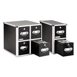 Vaultz - IDEVZ01049 - 660 Folders or 240 Slim/120 Standard Jewel Cases-Capacity CD/DVD File w/Lock, 4-Drawer, Black, 1 EA