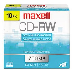 Maxell - MAX630010 - Maxell CD Rewritable Media - CD-RW - 4x - 650 MB - 1 Pack Slim Jewel Case - Retail - 120mm - 1.23 Hour Maximum Recording Time
