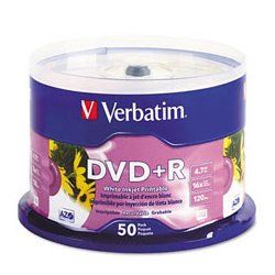 Verbatim / Smartdisk - VER-95033 - Verbatim 95033 DVD Recordable Media - DVD+R - 16x - 4.70 GB - 25 Pack Spindle - 120mm - 2 Hour Maximum Recording Time