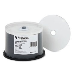 Verbatim / Smartdisk - VER-94971 - Verbatim DataLifePlus DVD Recordable Media - DVD-R - 8x - 4.70 GB - 50 Pack Spindle - 120mm - Printable - Inkjet Printable - 2 Hour Maximum Recording Time