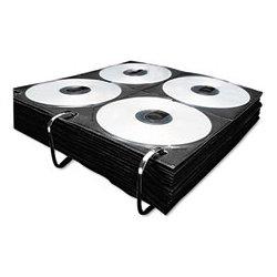 Vaultz - IDEVZ01415 - 8-Capacity CD/DVD Double-Sided Sleeve Refill, Black/Clear, 50 PK