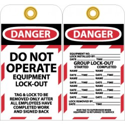 National Marker - LOTAG1 - LOCK-OUT TAG 6 X 35IN PK10. (Pack of 10)