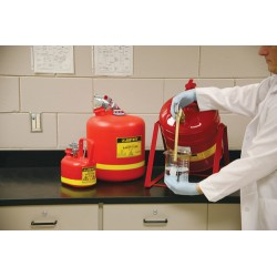 Justrite - 14065 - Justrite 1/2 Gallon Red Polyethylene Type I Non-Metallic Oval Safety Can With Stainless Steel Hardware (For Flammables), ( Each )