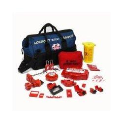 Brady - 99689 - Portable Lockout Kit, Filled, Electrical/Valve Lockout, Duffel Bag, Black, Blue