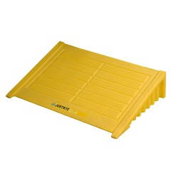 """Justrite - 28634 - Justrite 49"""" X 49"""" X 10 1/4"""" EcoPolyBlend Yellow Polyethylene 4-Drum Square Spill Control Pallet With 73 Gallon Spill Capacity"""