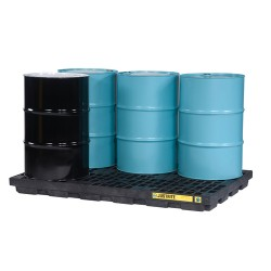 """Justrite - 28654 - Justrite 49"""" X 25"""" X 5 1/2"""" EcoPolyBlend Yellow Polyethylene 2-Drum Accumulation Center With 24 Gallon Spill Capacity"""