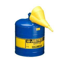 "Justrite - 7125300 - Justrite 2 1/2 Gallon Blue Galvanized Steel Type I Safety Can With 3 1/2"" Stainless Steel Flame Arrester And Self-Closing Lid (For Kerosene), ( Each )"