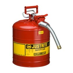"Justrite - 7225130 - Justrite 2 1/2 Gallon Red AccuFlow Galvanized Steel Type II Vented Safety Can With Stainless Steel Flame Arrester And 1"" Metal Hose (For Flammable Liquids)"