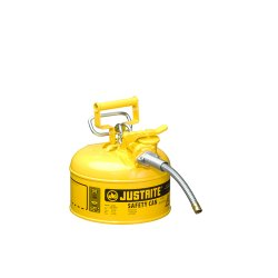 Justrite - 7225230 - Justrite 2 1/2 Gallon Yellow AccuFlow Galvanized Steel Type II Vented Safety Can With Stainless Steel Flame Arrester And 1' Metal Hose (For Flammable Liquids), ( Each )