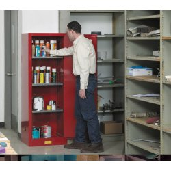 Justrite - 892220 - Justrite 22 Gallon Yellow Sure-Grip EX 18 Gauge Cold Rolled Steel Slimline Safety Cabinet With (1) Self-Closing Door And (3) Shelves (For Flammables), ( Each )