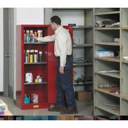 """Justrite - 892205 - 22 gal. Flammable Cabinet, 65"""" x 23-1/4"""" x 18"""", Manual Door Type"""