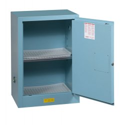 Justrite - 890402 - Justrite 4 Gallon Blue Sure-Grip EX 18 Gauge Cold Rolled Steel Countertop Safety Cabinet With (1) Manual Close Door And (1) Adjustable Shelf (For Corrosive Acids), ( Each )