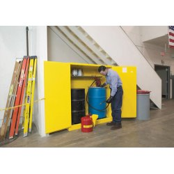 Justrite - 899300 - Justrite 55 Gallon Yellow Sure-Grip EX 18 Gauge Cold Rolled Steel Horizontal Drum Safety Cabinet With (2) Manual Close Doors And Cradle Track (For Flammable Liquids), ( Each )