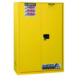 "Justrite - 891320 - 43"" x 18"" x 18"" Galvanized Steel Flammable Liquid Safety Cabinet with Self-Closing Doors, Yellow"