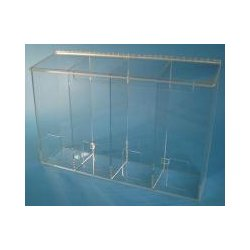 S-Curve Technologies - AT-104 C - Divided dispenser-4 compartments-1/4 clear acrylic. 24w x16h x 6d ( This listing is for case of 1 )