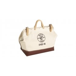 Klein Tools - 5102-18 - 1-Pocket Canvas General Purpose Wide-Mouth Tool Bag, 14H x 18W x 6D, White
