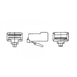 Stewart Connector - 940-SP-3088R-W-B25 - Mod Plug 8pos 8con Snagless For 28 To 24awg Cable 25/pk 940-sp-3088r-w-b25