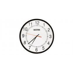 Valcom - V-AW16A - 16 Round Wireless Clock, Black, Surface Mount, Battery Operated