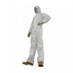 Tians - 226853 - EPIC Microporous Film Coated Coveralls, White, with Hood, Elastic Wrists and Ankles