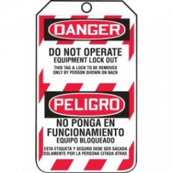 Accuform Signs - ACCTSP105CTP - Bilingual Lockout Tags, Cardstock