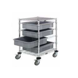 Quantum Storage Systems - BC212434M1GY - Dividable Wire Bin Grid Cart, 4 Gray Bins, Chrome Finish, 45h x 24w x 21d