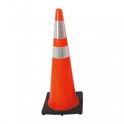 Cortina - CSP03-500-06 - Traffic Cone with Black Base and 6'/4' Reflective Collar, 36' Height, Red/Orange